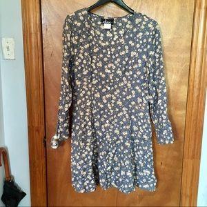 Vintage button-down floral mini dress